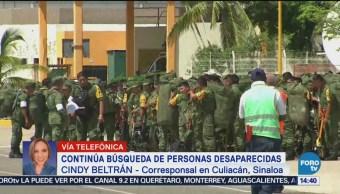 Continúa búsqueda de desaparecidas en Culiacán tras lluvias