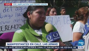 Continúa manifestación en calzada Las Armas falta de agua