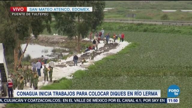 Continúan trabajos de limpieza en San Mateo Atenco por fisura en río Lerma