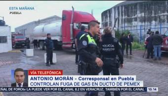 Controlan fuga de gas en ducto de Pemex, en Puebla