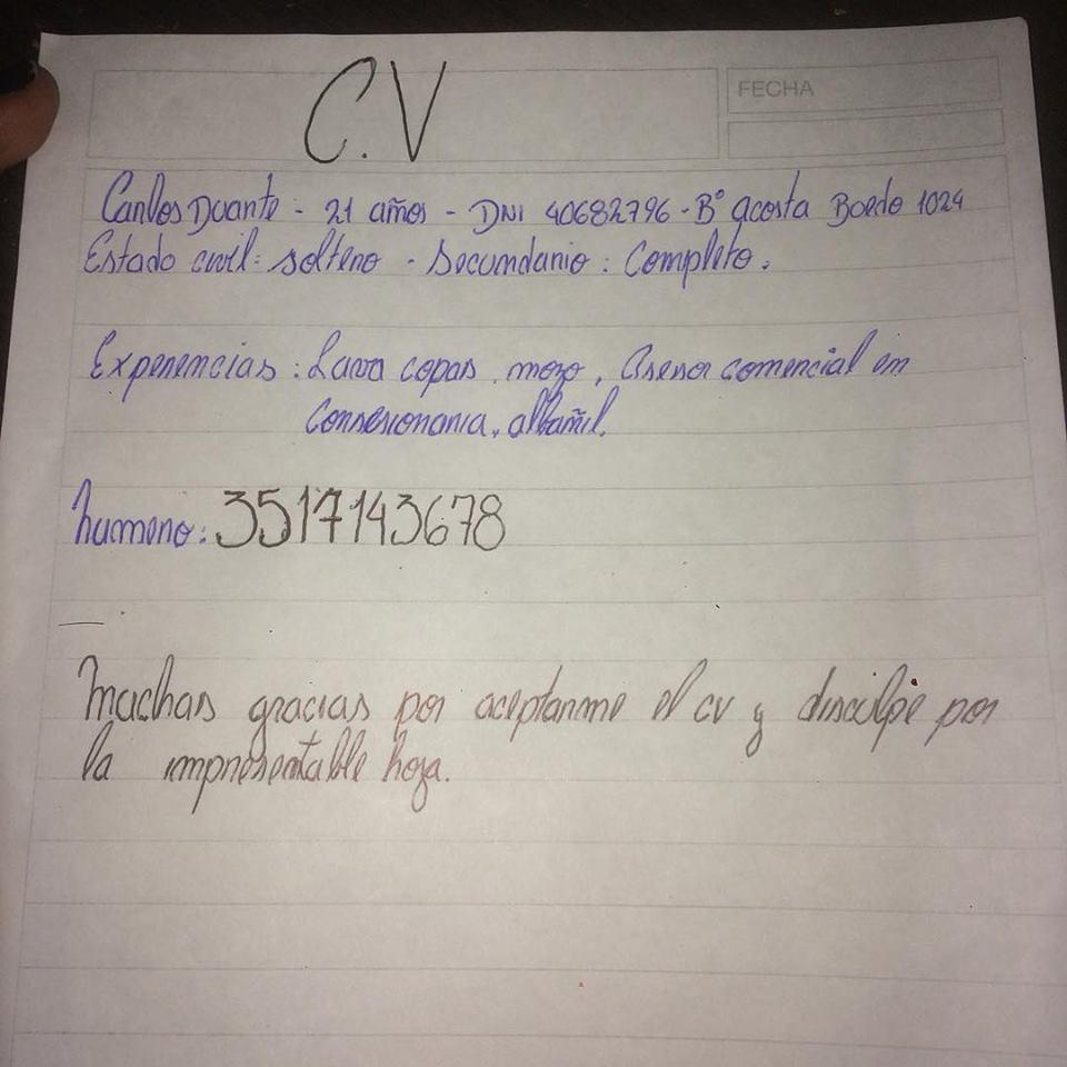 Conmueve Curriculum Vitae Hecho A Mano De Un Aspirante A Empleado De