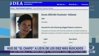 DEA enlista a hijo de 'El Chapo' entre más buscados