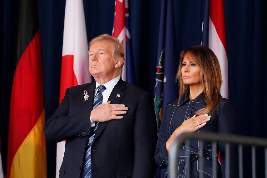 El presidente Trump y la primera dama en la conmemoración del 11 de septiembre. (Reuters)