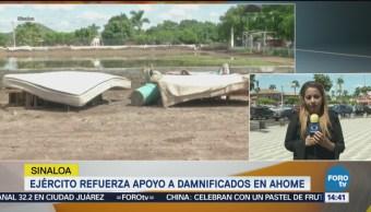 Ejército refuerza apoyo a damnificados en Ahome
