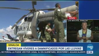 Entregan víveres a damnificados por las lluvias en Sinaloa