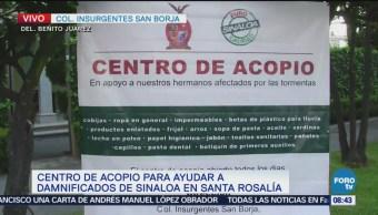Instauran centro de acopio para Sinaloa en la CDMX