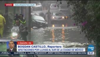 Lluvias colapsan vialidades del Sur de la CDMX