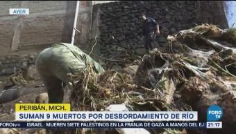 Suman 9 Muertos Desbordamiento Río Michoacán