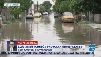 Lluvias provocan inundaciones en Torreón, Coahuila