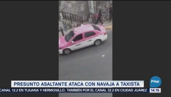 Presunto Asaltante Ataca Navaja Taxista