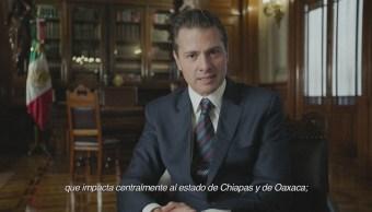 Peña Nieto destaca apoyo a mexicanos por catástrofes de fenómenos naturales