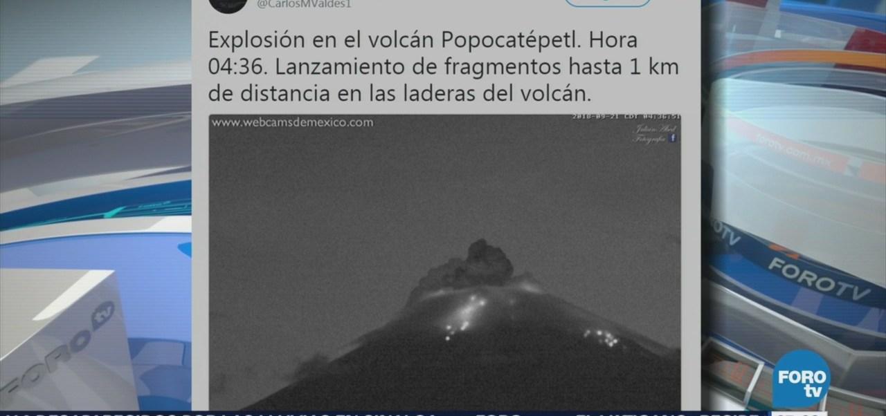 Popocatépetl mantiene actividad explosiva