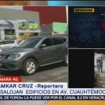 Por sismo desalojan edificios en avenida Cuauhtémoc
