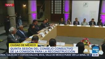 Quinta sesión del Consejo Consultivo Comisión Reconstrucción