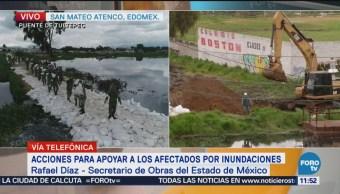 Reportan 919 casas afectadas en San Mateo Atenco por fisura en el río Lerma
