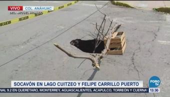Reportan socavón dos metros de profundidad colonia Anáhuac
