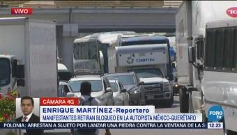 Retiran bloqueo en la autopista México-Querétaro, se reanuda