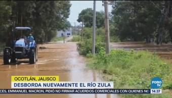 Río Zula se desborda en Ocotlán, Jalisco