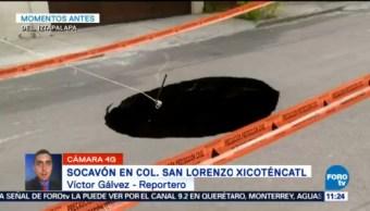 Se abre socavón en San Lorenzo Xiconténcatl, Iztapalapa