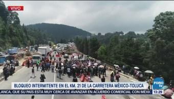 Se cumplen tres horas del bloqueo en carreta México-Toluca