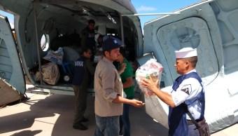 Sinaloa: Semar abre puente aéreo para apoyar a damnificados