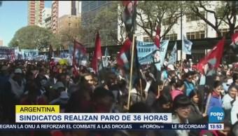 Sindicatos de Argentina realizan paro por ajustes de Macri