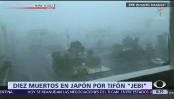Suman 10 muertos por el tifón Jebi en Japón