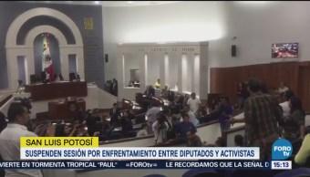 Suspenden Sesión Congreso San Luis Potosí Enfrentamiento Entre Diputados Y Activistas