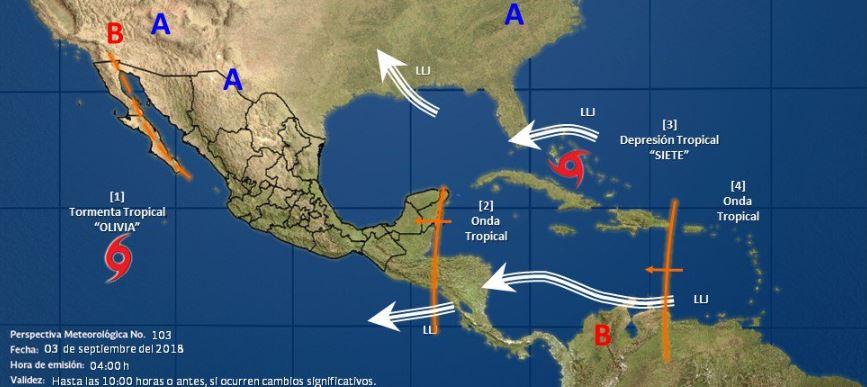 Tormenta tropical 'Olivia' se aleja de México