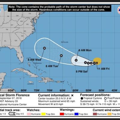 Tormenta tropical Florence puede convertirse de nuevo en huracán