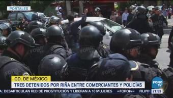 Tres Detenidos Tras Riña Comerciantes Policías Cdmx