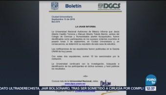 UNAM expulsa a dos estudiantes más del CCH Azcapotzalco