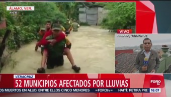 52 municipios afectados por las lluvias en Veracruz