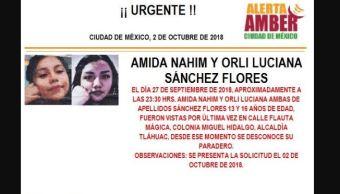 Alerta Amber para localizar a Amida Nahim y Orli Luciana