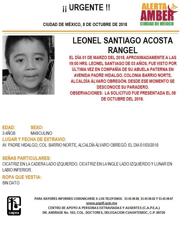 Activan Alerta Amber para localizar a Leonel Santiago