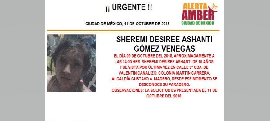 Activan Alerta Amber para localizar a Sheremi