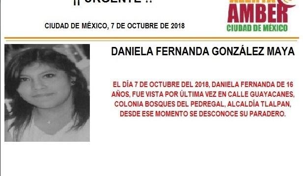 Alerta Ámber: localizar a Daniela Fernanda González Maya