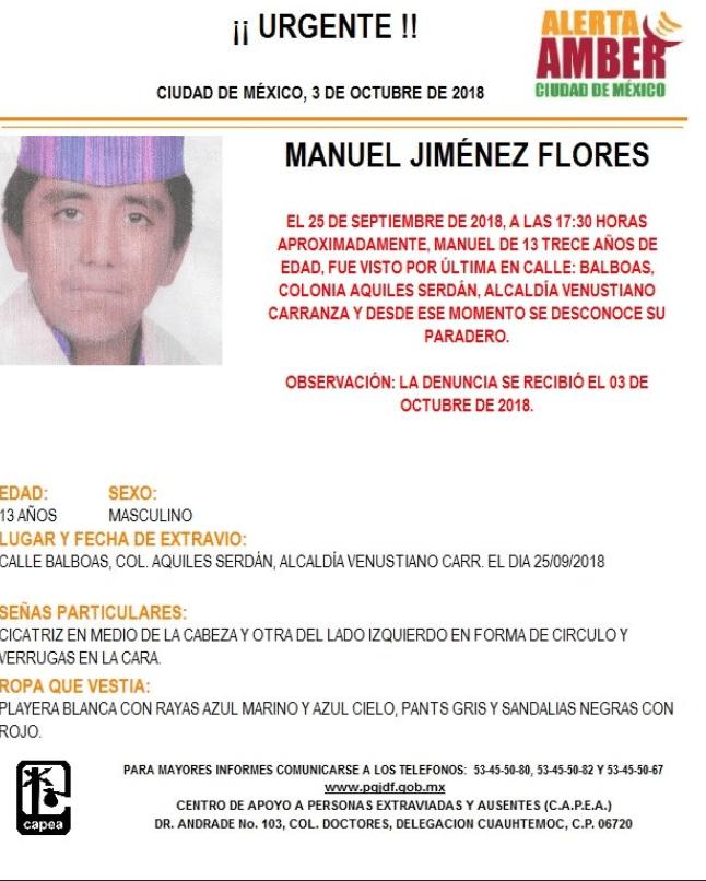 Activan Alerta Amber para localizar a Manuel Jiménez Flores