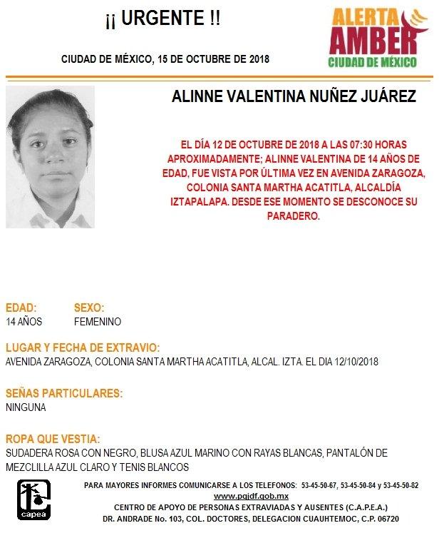 ALERTA AMBER PARA LOCALIZAR ALINNE VALENTINA NUÑEZ