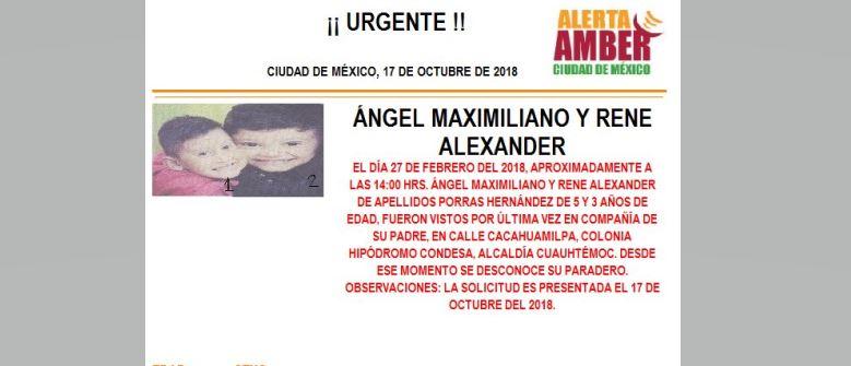 Alerta Amber para Ángel Maximiliano y René Alexander
