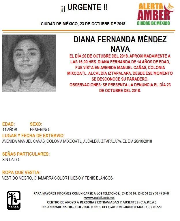Alerta Amber para localizar a Diana Fernanda