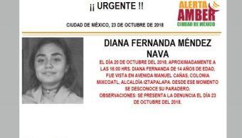 Alerta Amber para localizar a Diana Fernanda Méndez Nava. (PGJCDMX)