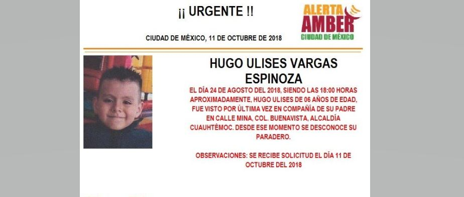 Activan Alerta Amber para localizar a Hugo Ulises