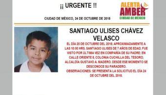 Alerta Amber para localizar a Santiago Ulises