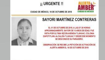 Alerta Amber para localizar a Sayori Martínez