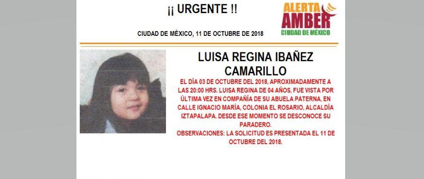 Alerta Amber para localizar a Luisa Regina