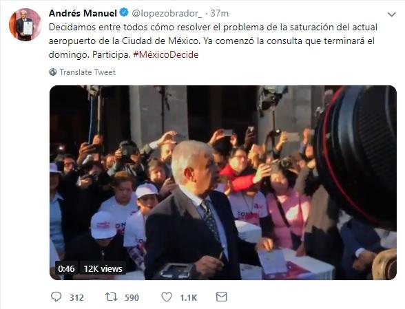 AMLO acude a emitir su voto en consulta del nuevo aeropuerto de México