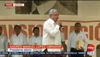 AMLO encabeza mitin en Mérida, Yucatán