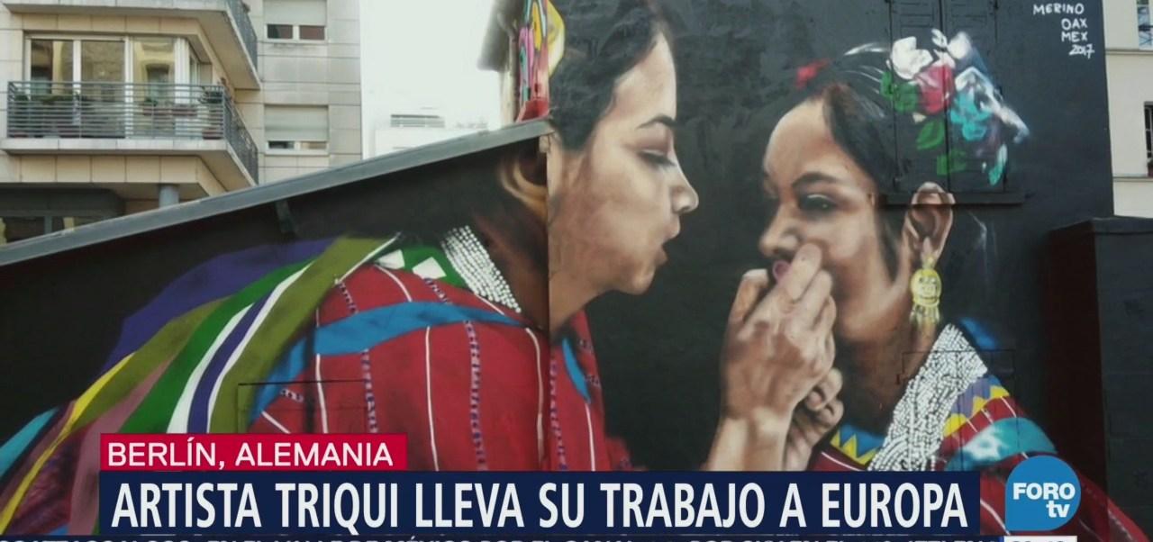 Artista Triqui Lleva Trabajo Berlín Pinta Mural Lienzo
