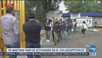 CCH Azcapotzalco mantiene paro de actividades